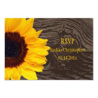 PixDezines rsvp sunflowers/knotted wood/rustic 9 Cm X 13 Cm Invitation Card