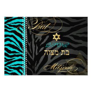 PixDezines rsvp Teal Zebra Stripes Bat Mitzvah Personalized Invitations