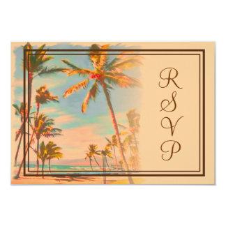 PixDezines rsvp Vintage Beach Scence/Aloha/Luau 9 Cm X 13 Cm Invitation Card
