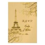 PixDezines rsvp Vintage Eiffel Tower + swirls Custom Announcement