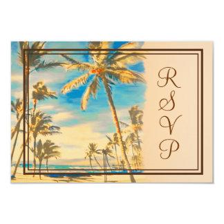 PixDezines rsvp vintage hawaiian beach/cerulean 9 Cm X 13 Cm Invitation Card