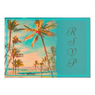 PixDezines rsvp vintage hawaiian beach/teal 9 Cm X 13 Cm Invitation Card