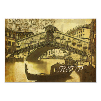 PixDezines rsvp Vintage Venezia, Rialto Bridge 9 Cm X 13 Cm Invitation Card