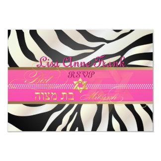 PixDezines rsvp Zebra, Bat Mitzvah/DIY color-black 9 Cm X 13 Cm Invitation Card