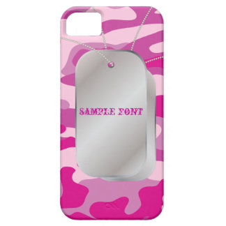 PixDezines Sassy Pink Camo+Dog+Tags Barely There iPhone 5 Case