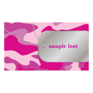 PixDezines Sassy Pink Camo+Dog Tags Pack Of Standard Business Cards