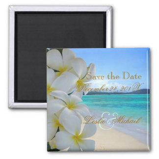 PixDezines Save Date Beach+Plumeria Lei Fridge Magnet
