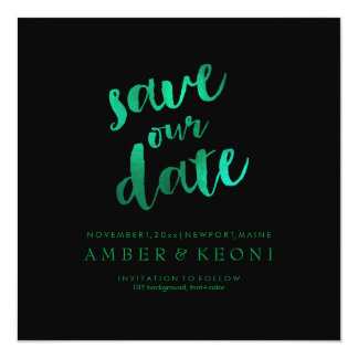 PixDezines Save Date/Emerald Green/DIY Background 13 Cm X 13 Cm Square Invitation Card
