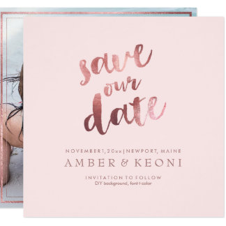 PixDezines Save Date/Faux Rose Gold/Pink Marble Card