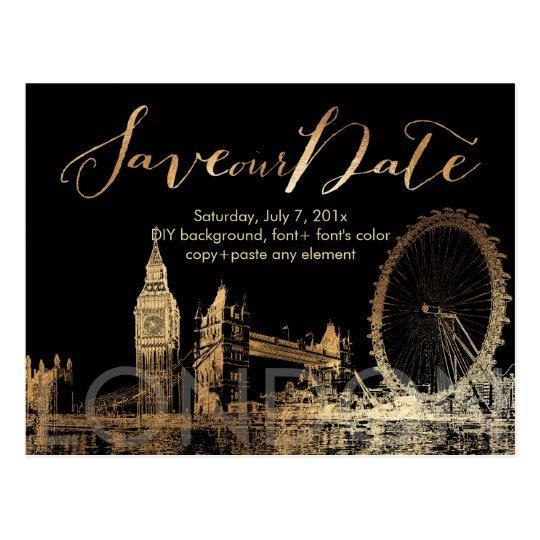 PixDezines/Save Date/Gold/London Skyline Postcard