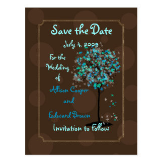 PixDezines Save the Date/chocolate+blue Postcard