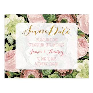 PixDezines save the date/vintage roses Postcard