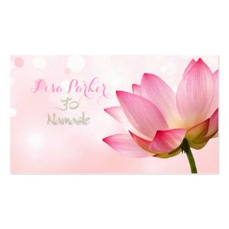 PixDezines serenity pink lotus, Om yoga, healers Business Card