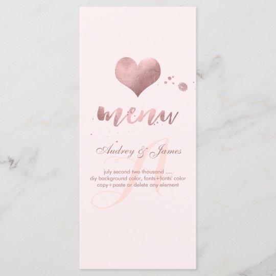 PixDezines Shine Menu/Faux Rose Gold Heart Menu