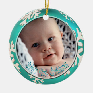 PixDezines Snowflakes Baby's First Christmas Christmas Ornament