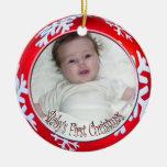 PixDezines Snowflakes Baby's First Christmas Christmas Tree Ornaments