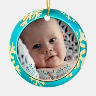 PixDezines Snowflakes Baby's First Christmas Round Ceramic Decoration
