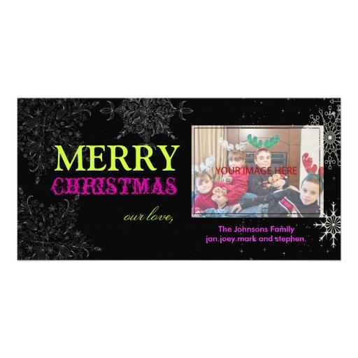 PixDezines Snowflakes, christmas, DIY colors.. Personalized Photo Card