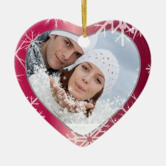 PixDezines Snowflakes Photo Template White + Red Ceramic Heart Decoration