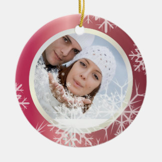 PixDezines Snowflakes Photo Template White + Red Christmas Ornament