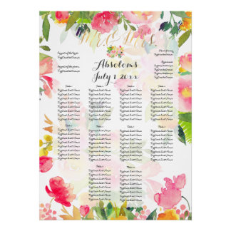 PixDezines Spring Floral Watercolor Seating Chart Poster