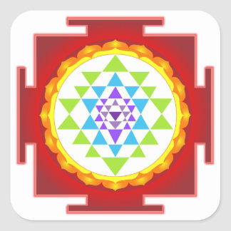 PixDezines Sri Yantra/Chakra Clearing/Focus Point Square Sticker