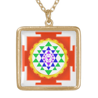PixDezines Sri Yantra Chakra Clearing/Orange Glow Gold Plated Necklace