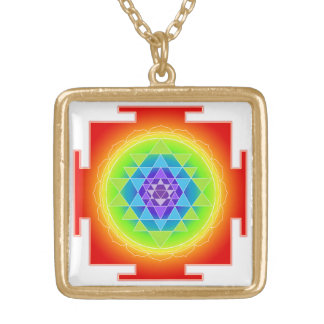 PixDezines Sri Yantra /Rainbow/Chakra Clearing Gold Plated Necklace