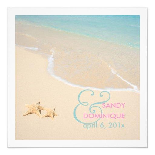 PixDezines Starfish + beach/tropical wedding Personalized Announcement