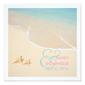 "PixDezines Starfish + beach/tropical wedding 5.25"" Square Invitation Card"