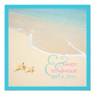 PixDezines Starfish + beach/tropical wedding 5.25x5.25 Square Paper Invitation Card