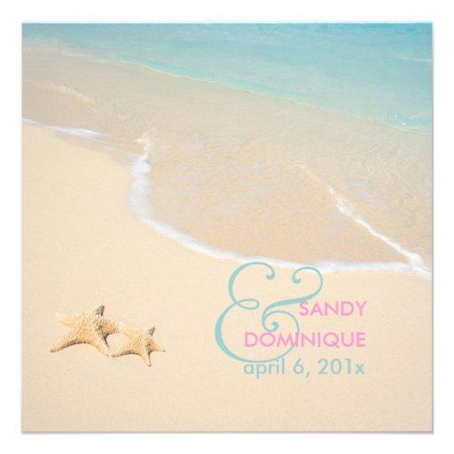 PixDezines Starfish + beach/tropical wedding Personalized Announcements