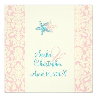 PixDezines Starfish + damask Wedding Invitations
