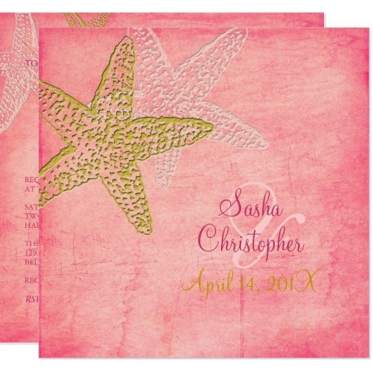 PixDezines STARFISH/PINK SAND/INVITATIONS Card