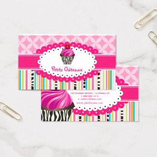 PixDezines strawberry swirls cupcake+stripes Business Card