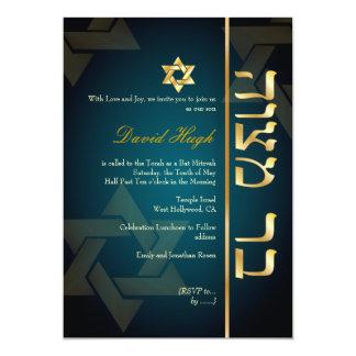 PixDezines Stylish Bar Mitzvah/dark teal blue/gold 13 Cm X 18 Cm Invitation Card