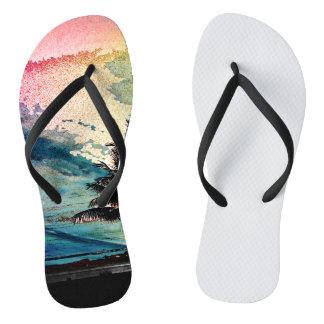 PixDezines Surfs Up Hawaiian Beach/Pink/Green Flip Flops
