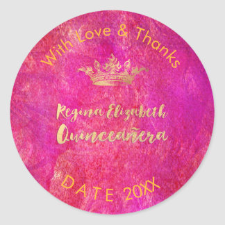 PixDezines Sweet 15/Gold Crown/DIY Thank You Classic Round Sticker