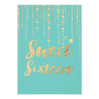 PixDezines sweet 16, Golden Hearts Strings Glitter 13 Cm X 18 Cm Invitation Card
