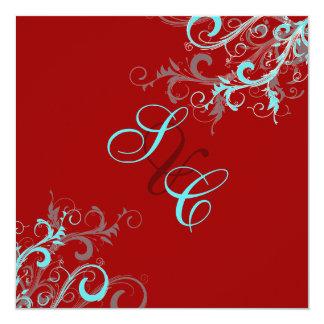 PixDezines Swirls, Aqua + Red + Ecrue 13 Cm X 13 Cm Square Invitation Card