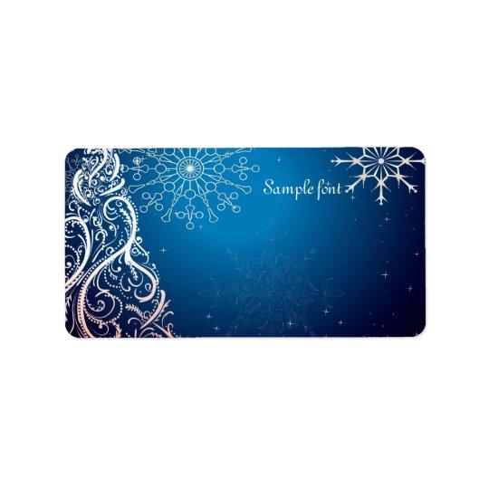 PixDezines Swirls Christmas Tree/blue sapphire Label