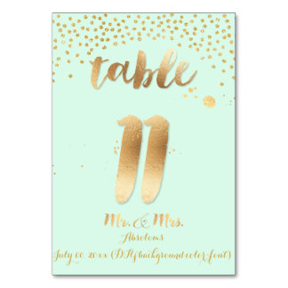 PixDezines table 11/gold sprinkles/DIY color/mint Table Cards