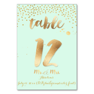 PixDezines table 12/gold sprinkles/DIY color/mint Table Cards