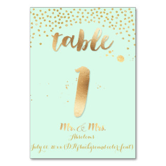PixDezines table 1/gold sprinkles/DIY color/mint Table Card