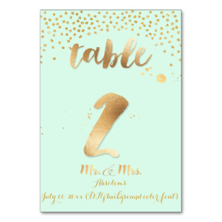 PixDezines table 2/gold sprinkles/DIY color/mint Table Cards