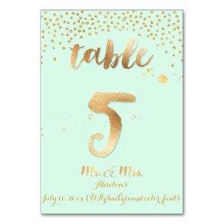 PixDezines table 5/gold sprinkles/DIY color/mint Table Card