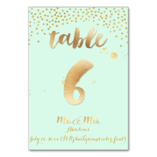 PixDezines table 6/gold sprinkles/DIY color/mint Table Cards