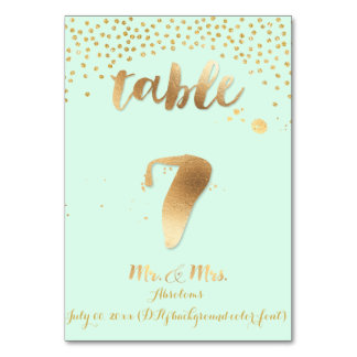 PixDezines table 7/gold sprinkles/DIY color/mint Table Card