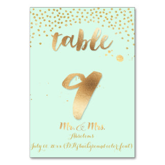 PixDezines table 9/gold sprinkles/DIY color/mint Table Card