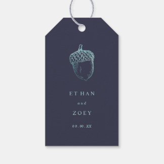 PixDezines Teal Blue Acorn/DIY Background Color Gift Tags